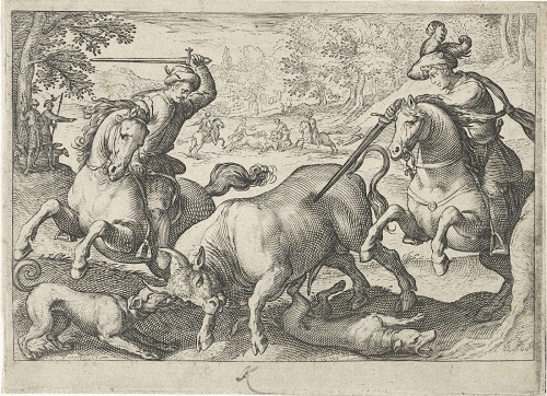"Riding ""a la gineta"" was the basic technique of bullfighting on horseback. During the Reinassance, this kind of fighting were widespread also outside the Iberian peninsula (Antonio Tempesta, Caccia al toro, 1598)"
