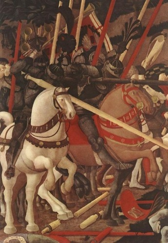 Paolo Uccello, detail of Niccolò Mauruzi da Tolentino unseating Bernardino della Ciarda at the Battle of San Romano (1435-1440) Florence, Uffizi Musuem