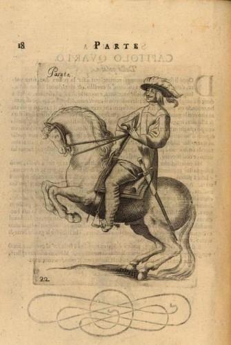 La posata era considerata essenziale per abituare il cavallo ad arrestarsi portando il peso sui posteriori Giovanni Battista Galiberto, il cavallo da maneggio, Vienna, 1650