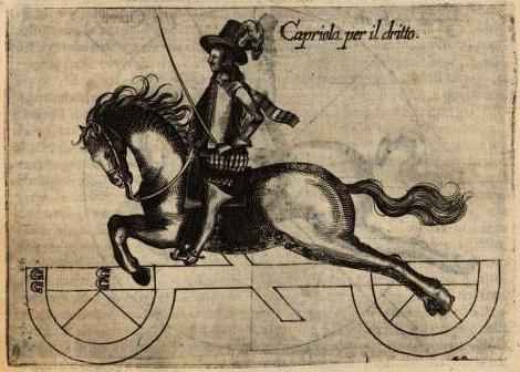 La capriola (cabriole) è uno dei salti di scuola più spettacolari tra quelli ancora praticati oggi. Giovanni Battista Galiberto, Il cavallo da maneggio, 1650