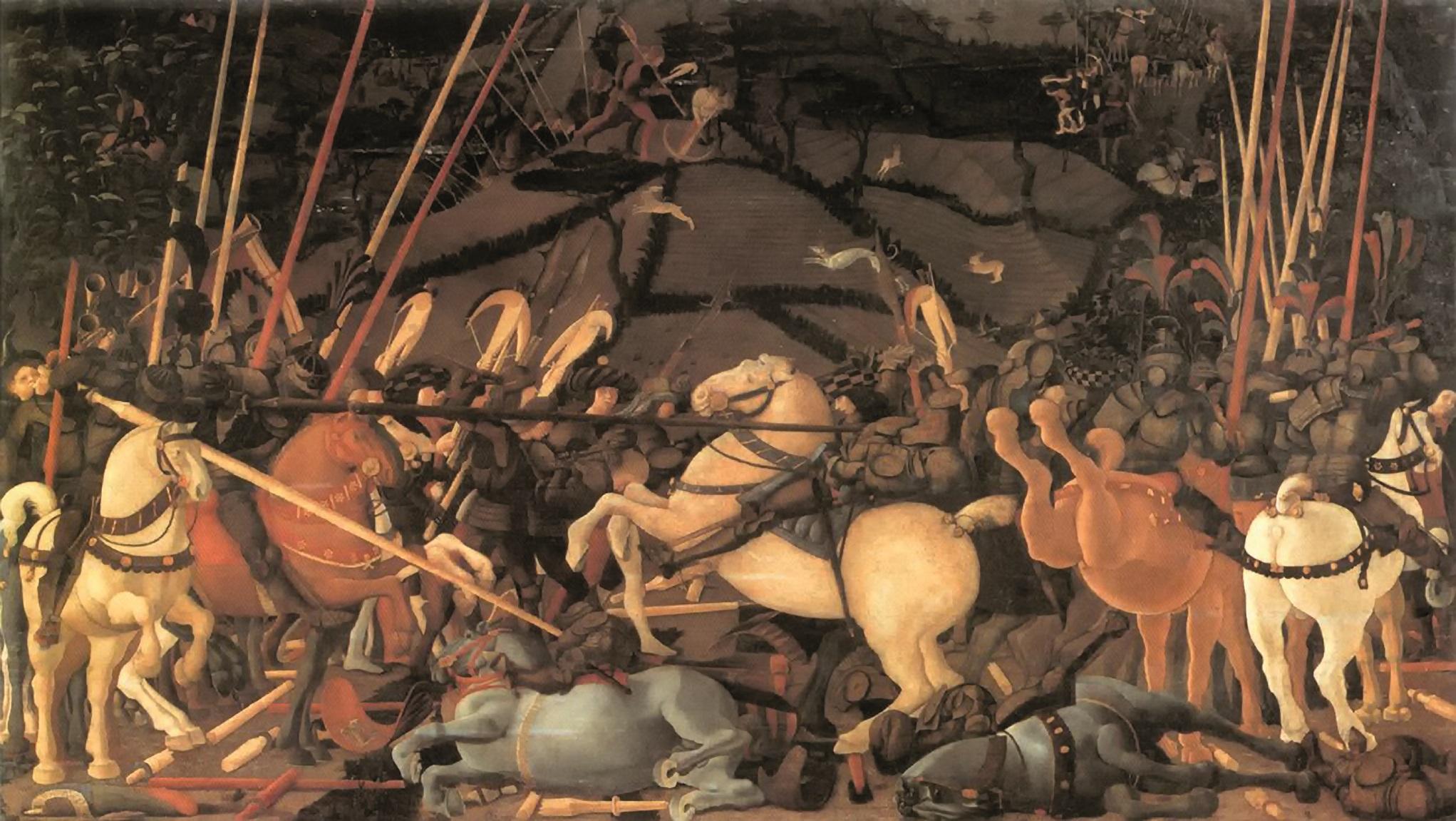 Nel celebre quadro di Paolo Uccello, Disarcionamento di Bernardino della Ciarda, si nota un cavallo sauro che scalcia nella mischia. Paolo Uccello, Battaglia di San Romano, (1438-1440), Firenze, Museo degli Uffizi