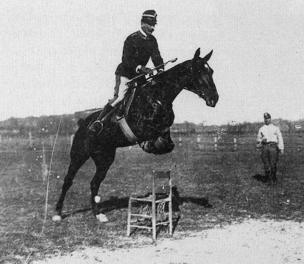 The rider must overcome his fear and the obsession of control and rely on the generous vitality of the animal. Federico Caprilli, jumping a chair in an open field.