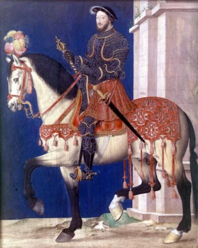 Secondo Grisone, il re di francia, francesco I, nella battaglia di Marignano (1515) avrebbe montato un cavallo allevato in Basilicata Anonimo, Francesco I, XVI sec., miniatura, Musée de Versailles