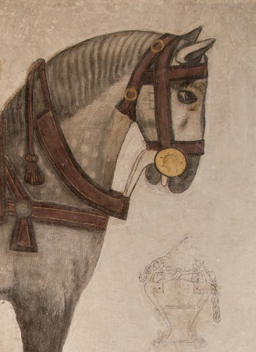 "The gray Scorbone (fresco - XVI c.). Note the brand on his cheek (partially hidden by the harness), which usually was used to distinguish the different ""parcels"" the breeding farm. Castello Pandone, Venafro (Is) © Ministero dei beni culturali – Soprintendenza del Molise"