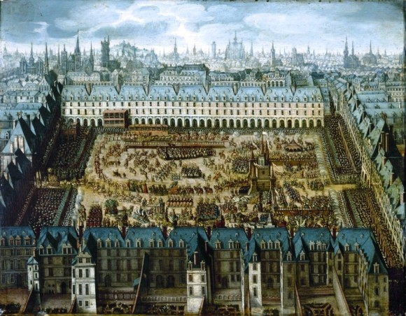 "In 1612, a grand carousel was held in Paris. Antoine de Pluvinel choreographed the ballet on horseback (Anonymous, Le ""Roman de chevaliers de la gloire"", around 1612, Paris, Musée Carnavalet)"