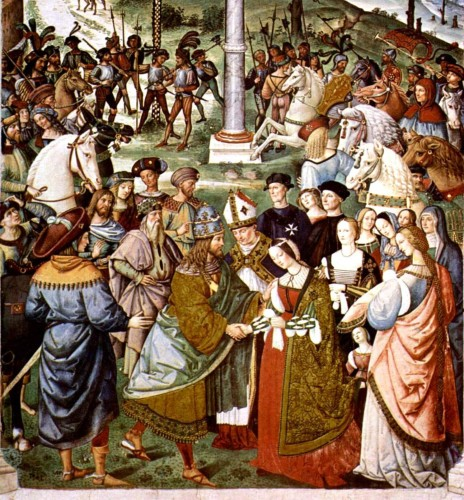 The visit to Naples of Emperor Frederick III, in 1452, was celebrated by wonderful pageants and chivalric games  (Pinturicchio, Enea Silvio presents Eleonora of Portugal to Frederick III,  Siena Piccolomini Library)