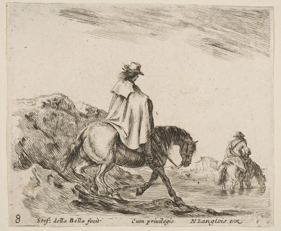 Stefano della Bella, Cavaliere conduce la sua cavalcatura ad abbeverarsi in un fiume, XVII sec. © Metropolitan Museum of Art - New York