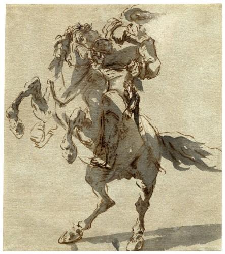 Anonimo, Uomo su un cavallo impennato, datazione incerta © The Trustees of the British Museum
