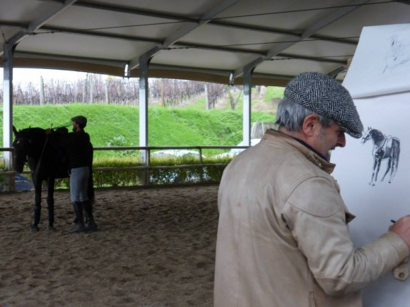 Stefano Marchi at work while Francesco is treating a Lusitano stallion