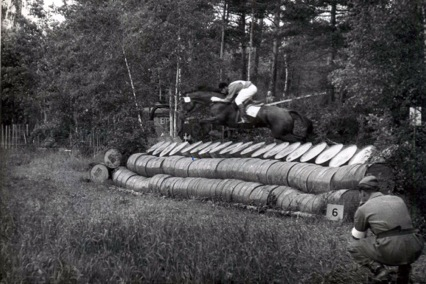1956. Jump n. 6 of the Olympic cross-country in  Stockholm. The horse is Tuft of Heater