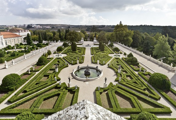 The library overlooks the gardens of the Palace of Queluz