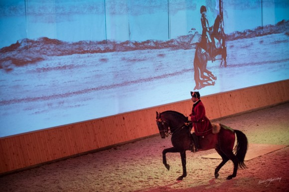 The arena is made particularly striking by giant projections of images and video on one of the walls. Vasco Pinto and  Senior Picture © Melis Yalvac