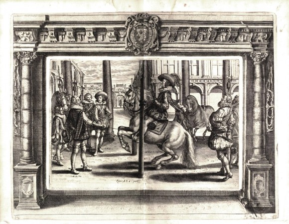 Antoine de Pluvinel, L'instruction du roy en l'exercice de monter à cheval, 1625 Plate 8, Part I