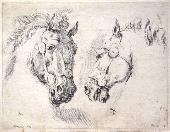 Stefano della Bella, Two horses, around 1649,  ©  The National Gallery of Art, Washington.