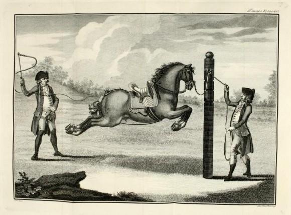 Capriola da fermo a fermo al piliere, in Carlos de Andrade, Luz da Liberale e Nobre Arte da Cavallaria, 1790, Stampa 83