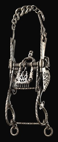 One of the most incredible pieces of the Giannelli Collection: Wrought iron Renaissance bit , pierced and engraved. There are only two other known similar specimens. Sixteenth century Picture © Michele Ostini