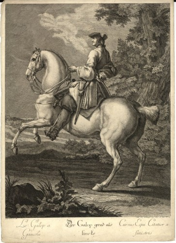 Johann Elias Ridinger, Left lead canter, Neue Reit Schul, 1770