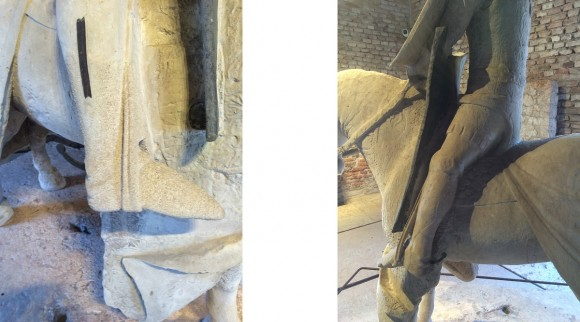 The feet were kept parallel to the sides of the horse and slightly forward