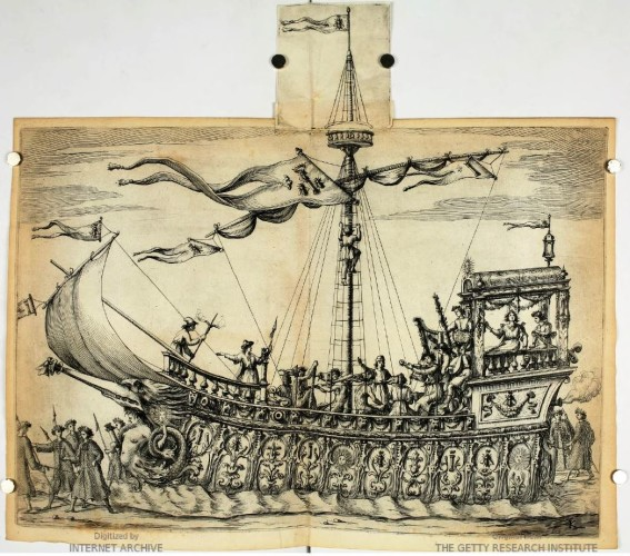 Andrea Sacchi, The ship of Bacchus (Along the broadside are the emblems of those who at the time were the two most powerful families of Rome: the bees for the Barberini and the column for the Colonna) in BENTIVOGLIO, 1635