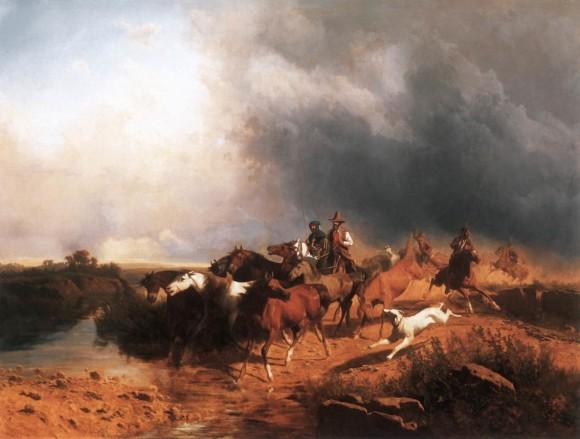 András Markò, Paesaggio italiano con cavalli al galoppo, 1871 Collezione privata