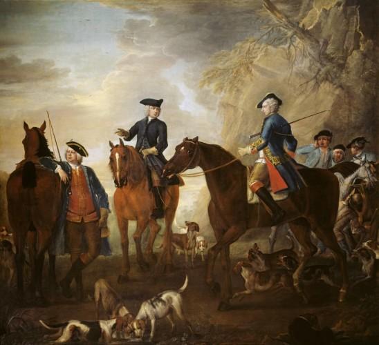 John Wotton, La caccia del Visconte Weymouth: Mr Jackson, Henry Villiers e Thomas Villiers, con cacciatori e segugi 1733-6 Tate Modern Gallery - Londra