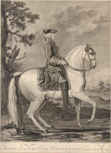Philibert Benoît de La Rue Monsieur de Nestier, écuyer ordinario della grande scuderia del Re, (stampa di Jean Daullé), 1753 © British Museum - Londra