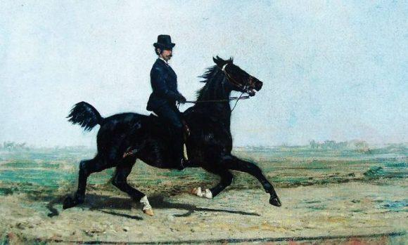 Filippo Palizzi, Cavaliere al trotto, datazione incerta La moda inglese portò alla diffusione in tut'Europa del trotto sollevato Galleria dell'Accademia di Belle Arti di Napoli