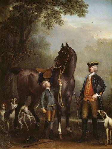 I cavalli inglesi erano apprezzati per la loro altezza John Wotton, L'onorevole John Spencer accanto a un cavallo da caccia tenuto da un ragazzo, 1733-6 © Tate Modern Gallery - Londra