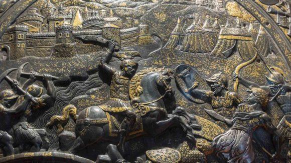 Dettaglio della rotella da giostra con Orazioo Coclite a cavallo Museo di Capodimonte, Napoli