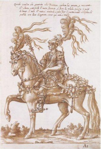 """Cavaliere con costume e bardatura """"alla romana"""" da parata. Libro dei disegni di Filippo Ursoni, 1554 Royal and Albert Hall Museum - Londra"""