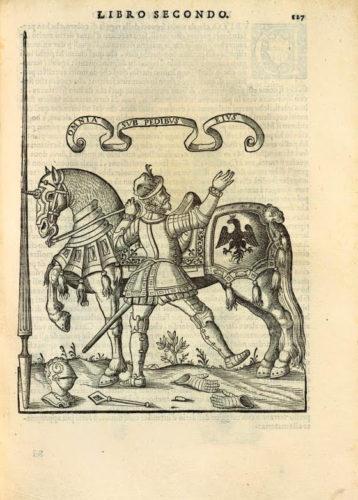 """Cavallo armato e """"uomo d'arme"""", entrambi protetti da armatura metallica. Pirro Antonio Ferraro, Cavallo frenato, 1602"""