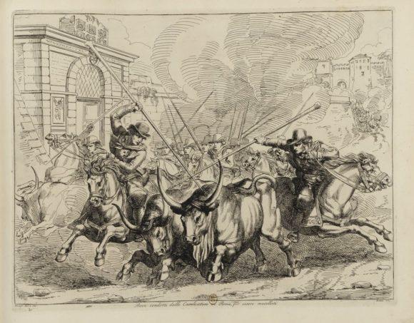 Buoi condotti dai mandriani attraverso le vie di Roma Bartolomeo Pinelli, Costumi diversi inventati ed incisi da Bartolomeo Pinelli, 1822