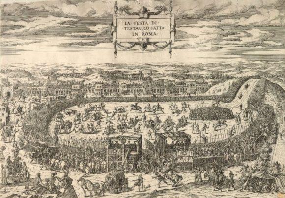 Le tauromachie si svolgevano in un'area delimitata ai piedi del Monte di Testaccio Etienne Du Pérac, La festa di Testaccio del 1545, incisione. British Museum - Londra