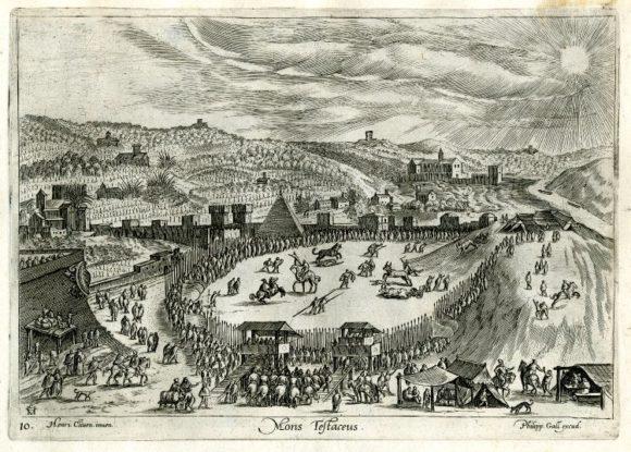 I tori venivano liberati sul Monte Testaccio e irrompevano nell'arena correndo lungo la discesa Hendrick Van Cleve III, Mons Testaceus, , Festa a Testaccio, incisione di Philipp Galle, 1557-1612 (c.).