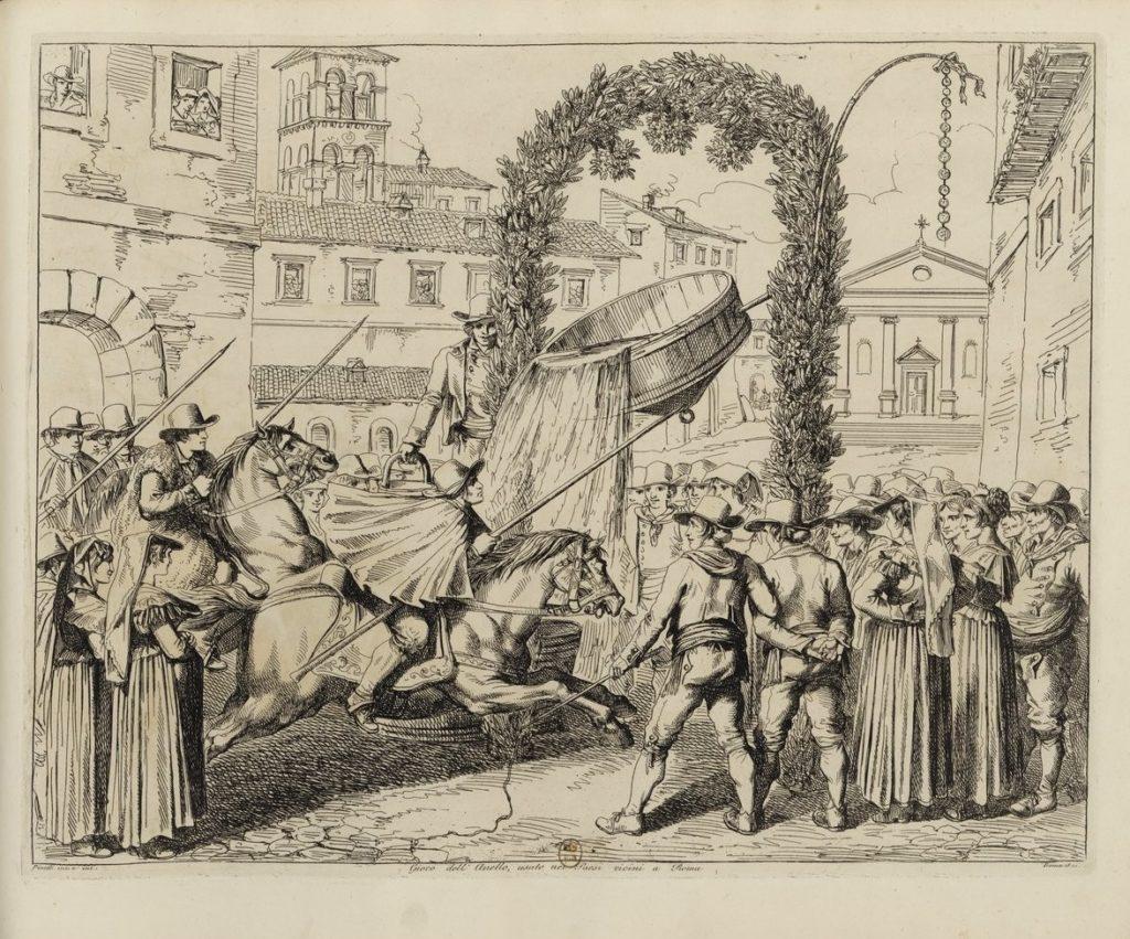 Il gioco dell'anello era molto praticato sin dal Rinascimento Bartolomeo Pinelli, Costumi diversi inventati ed incisi da Bartolomeo Pinelli, 1822