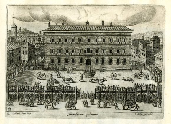 A bullfight in front of the Palazzo Farnese, Hendrick Van Cleve III, engraving by Philipp Galle, 1557-1612