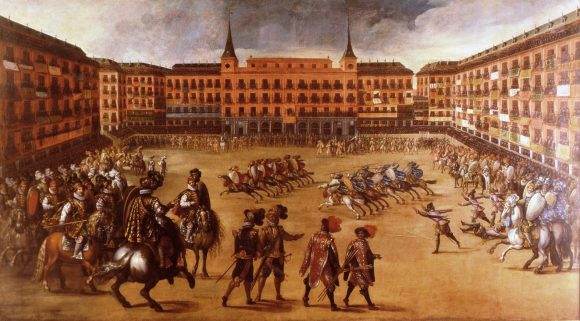 The game of reeds was widespread in Spain and Portugal, but also in the Spanish domains in Italy (Juan de La Corte, Fiesta in the Plaza Mayor de Madrid, Museo Municipal, Madrid, 1623)