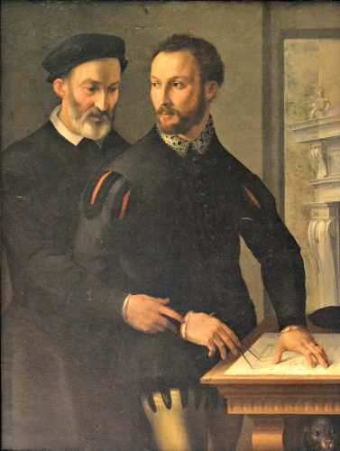 Recently, the duke Ottavio Farnese and Francesco De Marchi (behind him) have been identified in the two figures of the Double male portrait (1556), of Maso da San Friano, preserved in the Capodimonte Museum, in Naples
