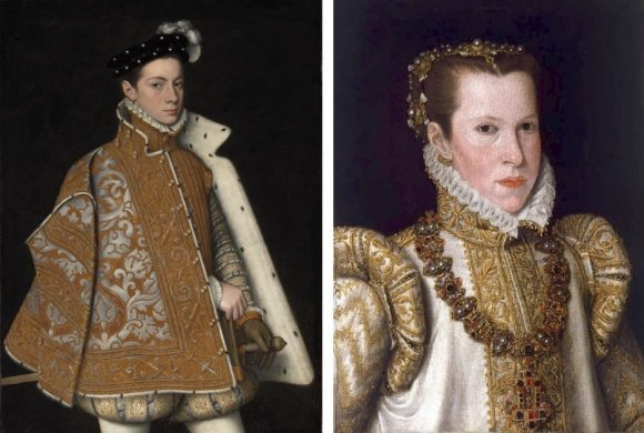 left: Portrait of Alessandro Farnese, attributed to Sofonisba Anguissola, around 1560 (National Gallery of Ireland). Right: Portrait of Maria d'Aviz, Anthonis Mor school, second half of the 16th century (Pinacoteca Stuard, Parma)
